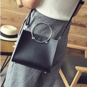 New! Silver Hoop Handle Faux Leather Crossbody Bag
